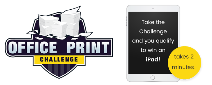 Office Print Challenge logo and ipad